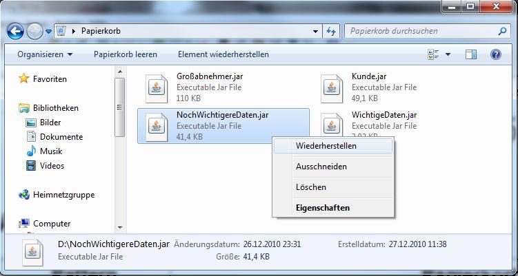 Gelöschte dateien wiederherstellen windows 7